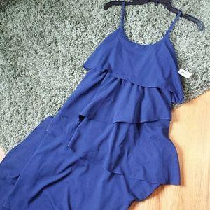 Ruffled Layered Navy Blue Maxi Dress